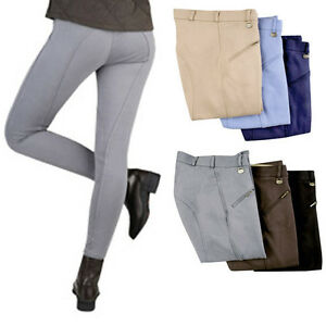 NEW-Ladies-HKM-Cotton-Stretch-Horse-Riding-Breeches-Trousers-Colours-Sizes