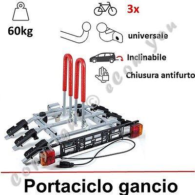 Portabici da installare sul gancio di traino per 3 bici   piattaforma multi-uso