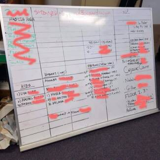 Large office whiteboard - great for staff targets, etc