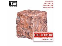 NATURAL RED GRANITE COBBLES / SETTS – PAVING, EDGING, DRIVEWAYS, PATHS AND PATIOS STONES