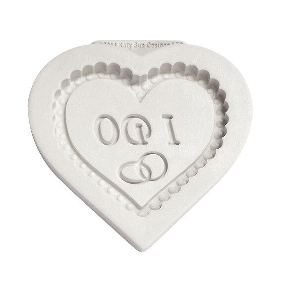 Katy Sue I DO HEART plaque silicone mould - wedding cake sugarcraft
