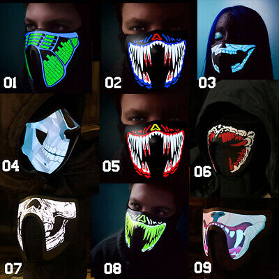 LED Rave Luminous Flashing Half Face Mask Party Masks Light Up Club Dance - Light Up Maske