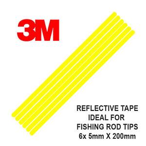 3M-Scotchlite-Reflectante-Cana-Punta-Cinta-6-Tiras-5mm-x-200mm-Pesca-UKYellow