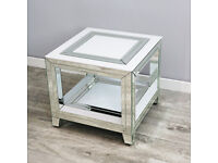 Brianna White Mirrored Side Lamp Table Brand New