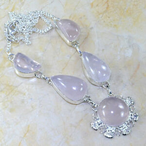 "Collier de Quartz Rose 20 3/4"" 50% Argent Pierres:15 x 25mm GGG"