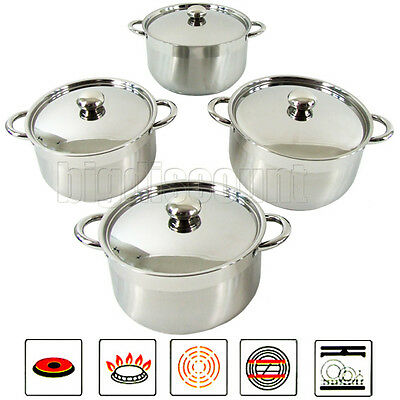 Stainless Steel Cookware Set Stockpot Saucepan Casserole 4 pieces