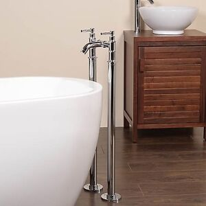 Polished Chrome Water Supply Freestanding Floor Mounted Bath Stand Pipes 17231