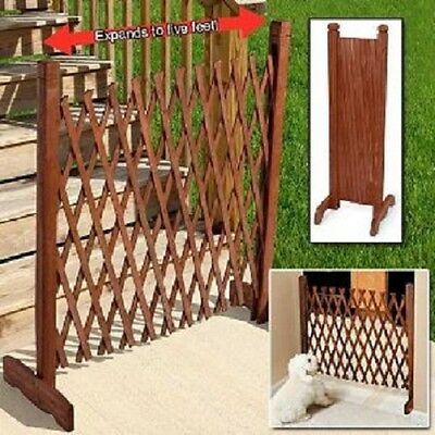 Expanding Portable Fence Wooden Screen Pet Gate Kid Safety Dog READ DESCRIPTION!
