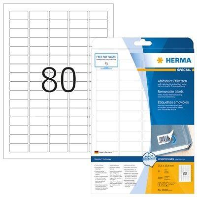 HERMA 10003 Ablösbare Etiketten A4 35,6x16,9 mm weiß Movables/ablösbar Papier ma