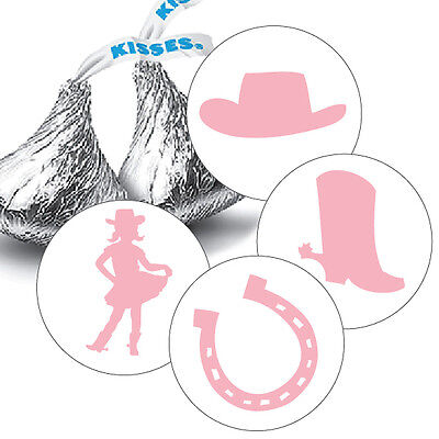 Cowgirl Party Favors (108 Cowgirl Rodeo Birthday Party Hershey Kiss Labels Stickers for)