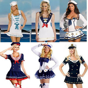 Ladies-Sexy-Sea-Sailor-Naval-Pilot-Air-Hostess-Uniform-Fancy-Dress-Costume