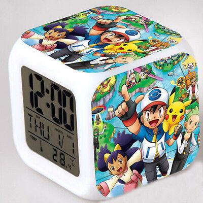 Pokemon Figure 7 Color Changing LED Night Light Alarm Clock Kid Toy Xmas Gift