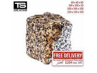 Granite Setts SILVER GREY / YELLOW Paving Stones for Driveways, Paths & Patios 4,8m2 / Free P&P