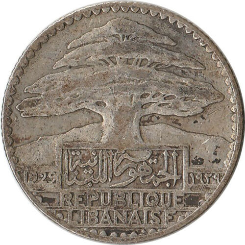 1929 Lebanon (French) 25 Piastres Silver Coin KM#7 Mintage 600K