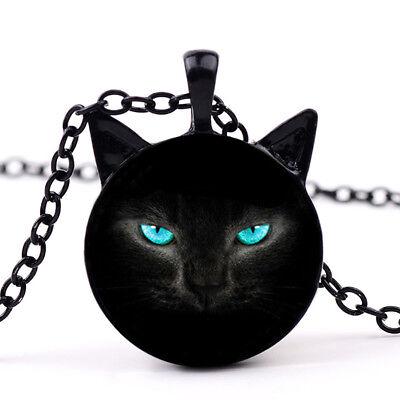 Katze Ohren Tier schwarz blau Augen Damen Vintage Punk Anhänger Halskette