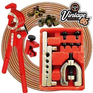Copper Brake Pipe Line Repair Kit Pipe End Flarer Cutter Bender 10mm Metric Nuts