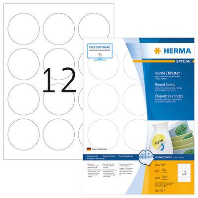 HERMA 4477 Ablösbare Etiketten A4 Ø 60 mm rund weiß Movables/ablösbar Papier mat