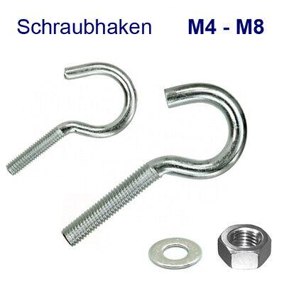 Schraube Haken (Schraubhaken M4 M5 M6 M8 Hakenschraube Haken Gewinde metrisch Stahl verz. Mutter)