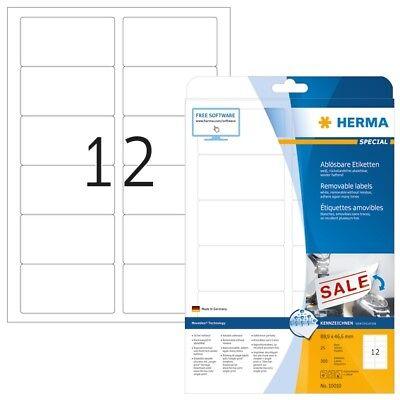 HERMA 10010 Ablösbare Etiketten A4 88,9x46,6 mm weiß Movables/ablösbar Papier ma