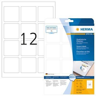 HERMA 10109 Ablösbare Etiketten A4 60x60 mm weiß quadratisch Movables/ablösbar P