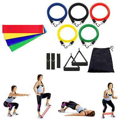 15 in 1  Yoga Pilates Exercise Fitness Workout Bands+Resistance Training Loops
