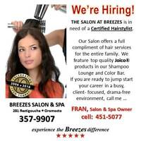 Certified Hairstylist wanted