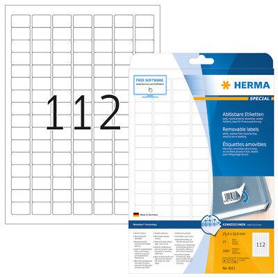 HERMA 4211 Ablösbare Etiketten A4 25,4x16,9 mm weiß Movables/ablösbar Papier mat
