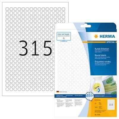 HERMA 4385 Ablösbare Etiketten A4 Ø 10 mm rund weiß Movables/ablösbar Papier mat