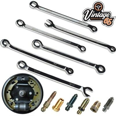 Vauxhall 6 Piece Master Brake Cylinder Drum Brake Service Bleed Spanner Set Brake Bleeding Master Set