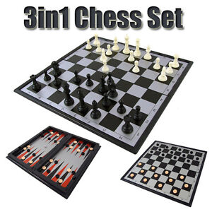 New 3 in 1 Magnetic Travel Games Chess Set Checkers Draughts Backgammon Board