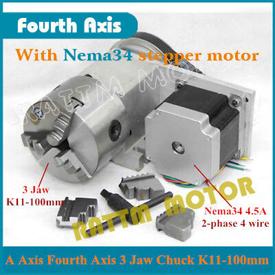 Rotary Axis 4th Axis 3 Jaw Chuck K11-100mmnema34 Stepper Motor Ratio 31 Cnc