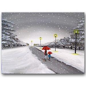 SCA-ART-SIGNED-PRINT-OF-ORIGINAL-PAINTING-WINTER-WALK-IN-SNOW-UMBRELLAS-UK-ART