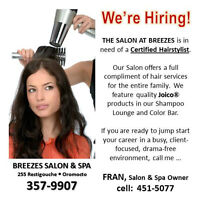 We're Hiring for our busy Salon ....