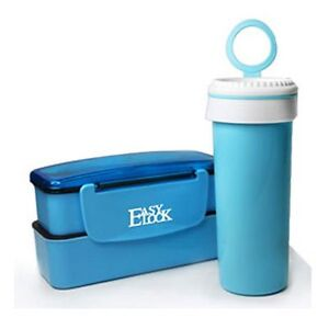 Brand New Plastic Lunch Box With Water Bottle Set Blue