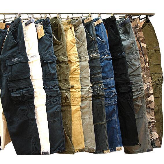 Jet Lag Herren Hose 007 Cargohose mit Seitentaschen Jeans schwarz beige olive