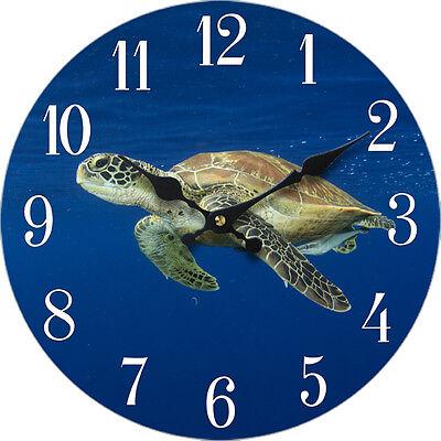 "Wood Wall Clock Turtle 13""X13"" Home Wall Decor Marine Coastal Nautical Beach New"