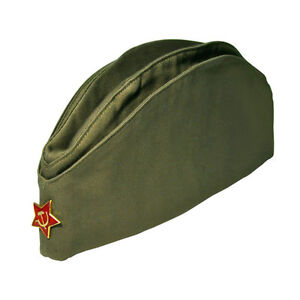 100% ORIGINAL SOVIET RUSSIAN USSR ARMY PILOTKA MILITARY UNIFORM HAT RED STAR