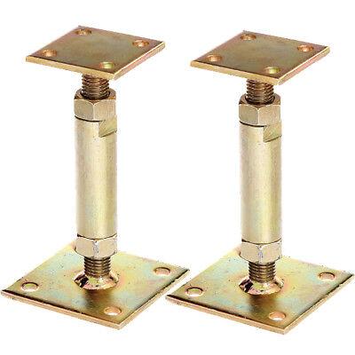 2x GAH Pfostenträger mit 2 Platten gelb verzinkt aufdübelbar höhenverstellbar
