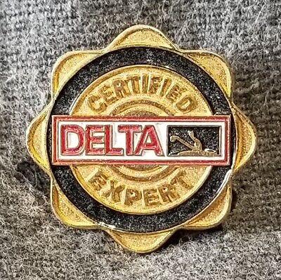 "LMH PINBACK Pin DELTA FAUCETS Certified Faucet Expert HOME DEPOT Employee 7/8"""