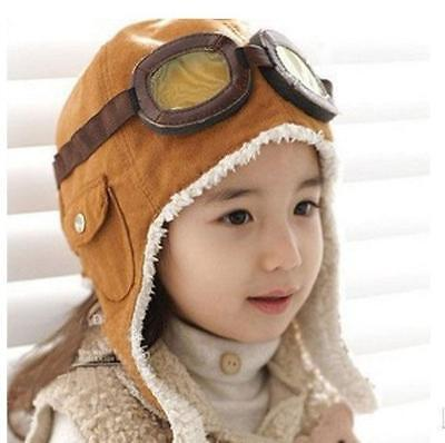 KIDS TODDLER CHILD PILOT GOGGLES AVIATOR FLEECE SOFT WARM HAT CAP WARM EARMUFFS