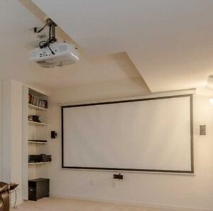 "HOME THEATRE SYSTEM EPSON 3D PROJECTOR 120"" SCREEN BOSE SPEAKERS"