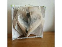 FOLDED BOOK ART LOVE HEART MOTHERS DAY GIFT FIRST WEDDING ANNIVERSARY GIFT