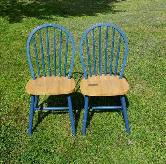 Pair of 2 blue pine chairs suit kitchen stick back sturdy and 3rd similar chair also available