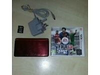 3DS CONSOLE METALIC RED, CHARGER, 32GB SD card & FIFA 13