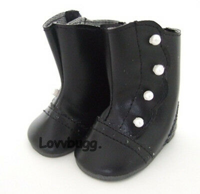 "Lovvbugg Black Victorian Boots for 18"" American Girl or Boy or Bitty Baby Doll Shoes"