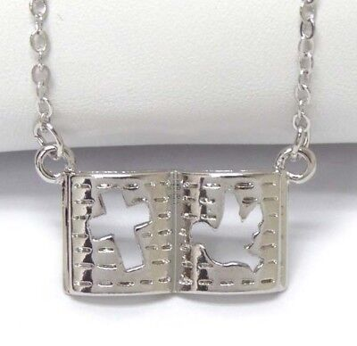 NEW OPEN BIBLE CUT OUT CROSS & DOVE WHITE GOLD PLATED PENDANT NECKLACE US SELLER