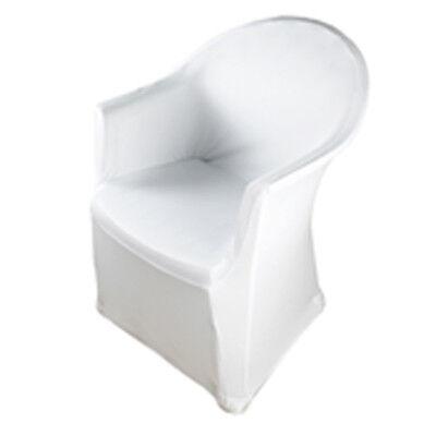 Professionelle Stretch Stuhlhusse mit Armlehne Weiß Gummifußtas. doppelt vernäht ()