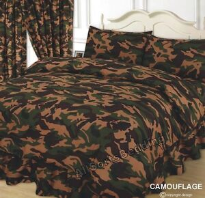 bed duvet cover set camouflage khaki green beige chocolate army ebay