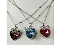 NEW Ladies Jewellery Pendant Crystal heart with crystal set bow necklace in pink