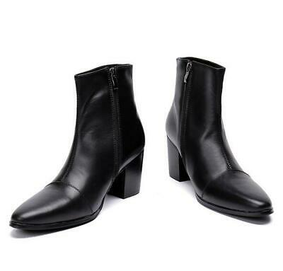 Mens Punk side Zip Pointy Toe Real Leather Nightclub Ankle Boots Cuban Heels sz